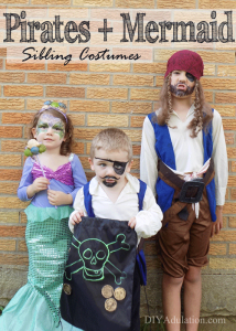 Pirates and Mermaid Sibling Costumes