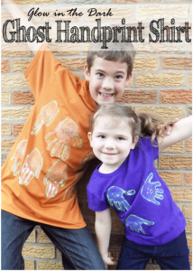 Glow in the Dark Ghost Handprint Shirt for Kids