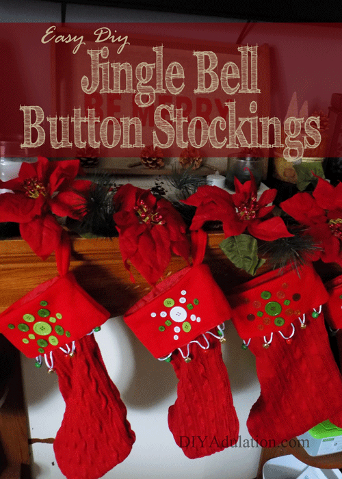 Easy DIY Jingle Bell Button Stockings