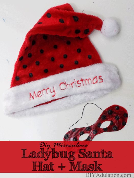 Do your kids love Ladybug and Cat Noir? Watch your kid transform into a Christmas crime fighter with this DIY Miraculous Ladybug Santa hat and mask.