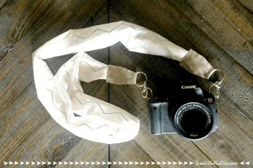 Camera with DIY strap attached to it