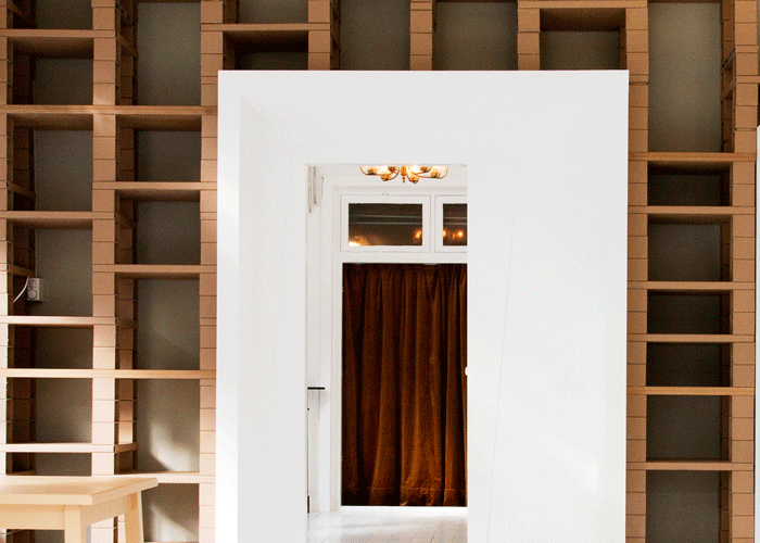 Empty wooden shelves