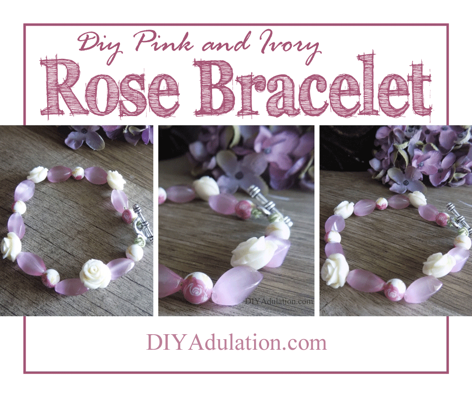Pink floral beaded bracelet on wooden table with text overlay: DIY Pink and Ivory Rose Bracelet