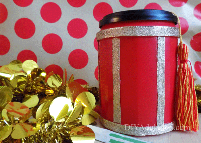 Chinese Lantern with gold garland and polka dot background