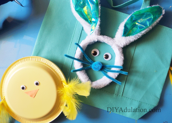 Blue Easter Bunny Egg Hunt Bag with Yellow Chick