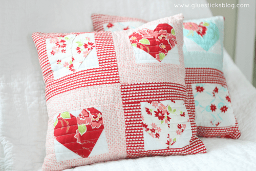 Quilted Heart Throws Pillows