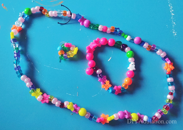 Kid Made Colorful Beaded Jewelry Set