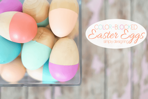 Wooden Easter Eggs with Color Blocked Paint Design and text overlay: Color Blocked Easter Eggs