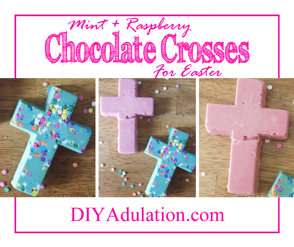 Collage of chocolate crosses with text overlay: Mint and Raspberry Chocolate Crosses for Easter
