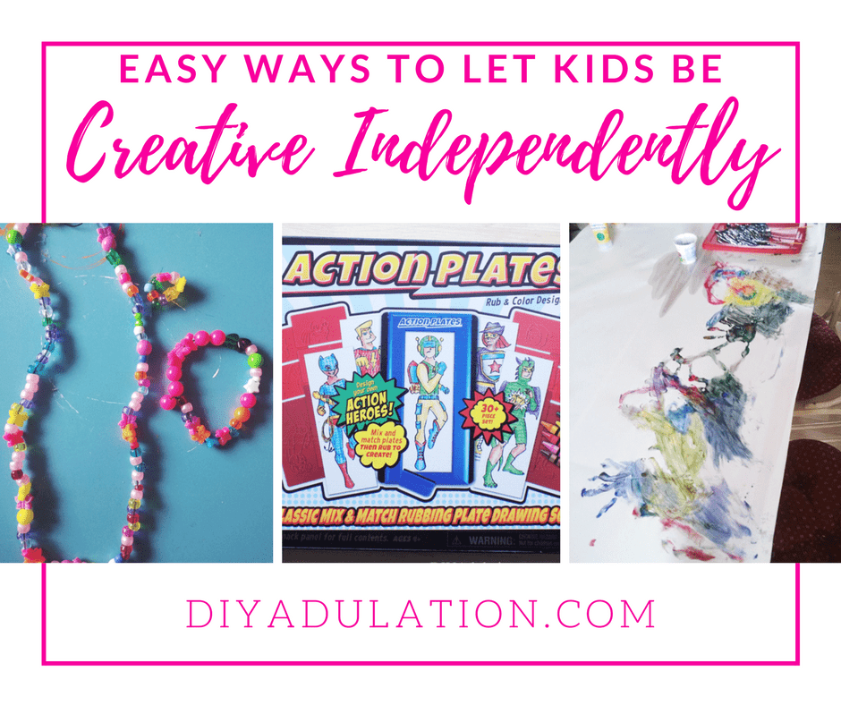 Collage of Kids Crafts with text overlay: Easy Ways to Let Kids Be Creative Independently
