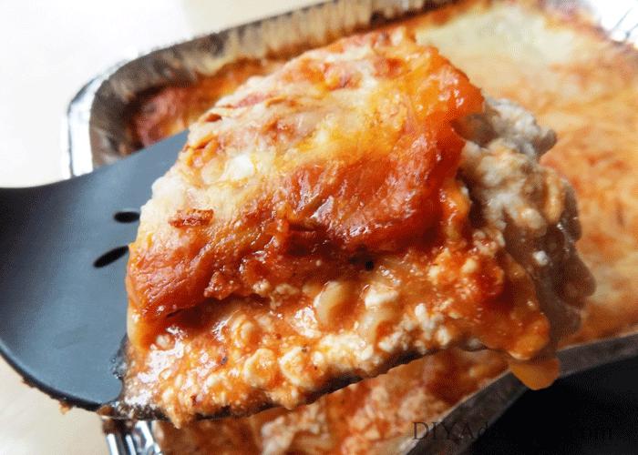 Piece of lasagna close up