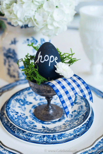 Styled chalkboard egg in gorgeous blue place setting