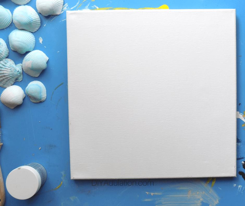 Blank Canvas next to Dyed Seashells