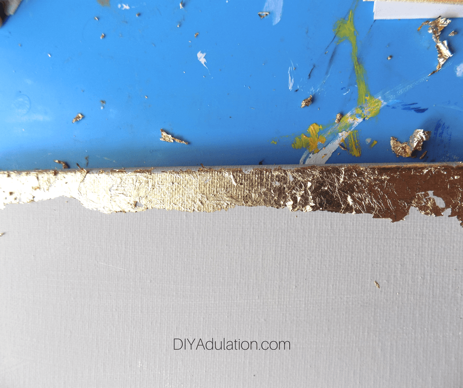 Close up of Gold Leaf Edged Canvas