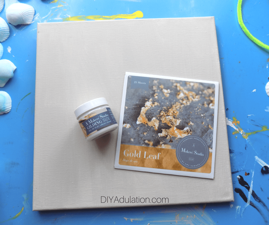 Gold Leaf and Gilding Size on Painted Canvas