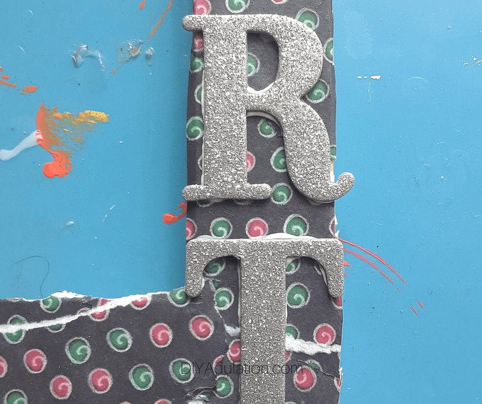R and T Glitter Letters Glued on Frame