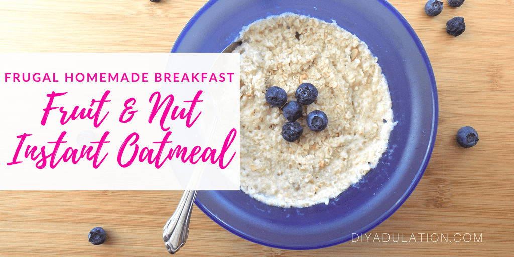 Bowl of oatmeal with text overlay: Frugal Homemade Breakfast Fruit & Nut Instant Oatmeal