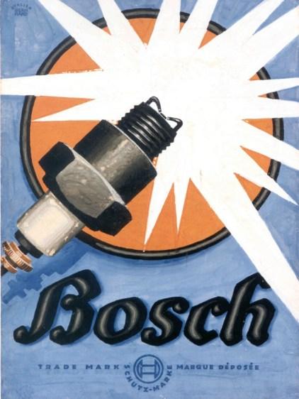 LOCANDINA DEL 1921 PER LE CANDELE BOSCH