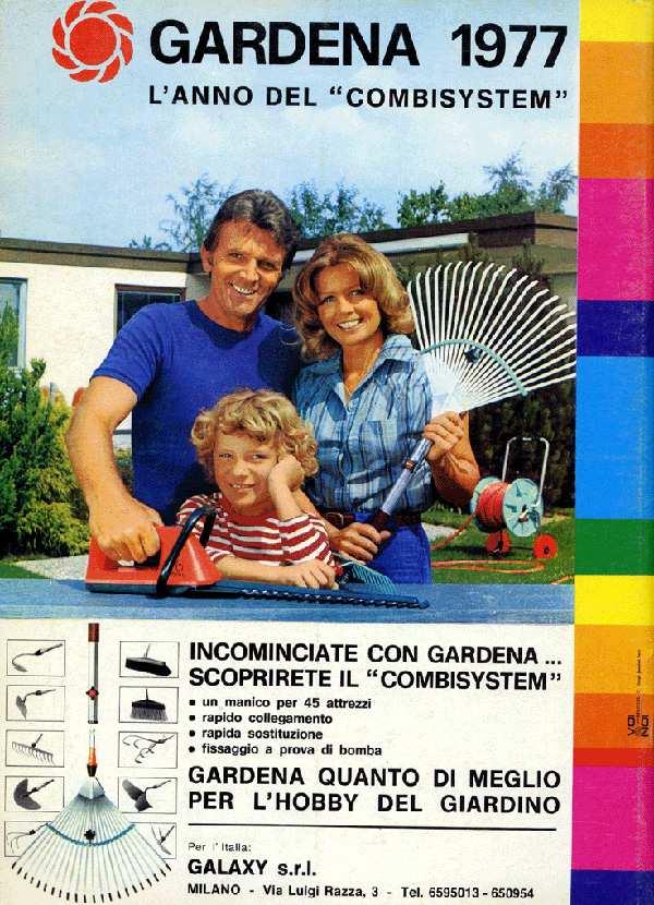1977. La pubblicità dell'arrivo del Combi System Gardena in Italia