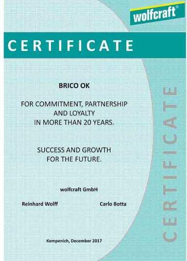 Certificato consegnato a Brico OK da Wolfcraft