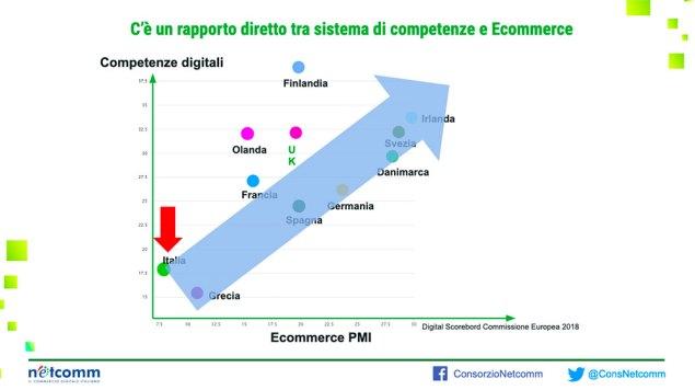 Il rapporto diretto tra competenze digitali e livello di sviluppo dell'e-commerce