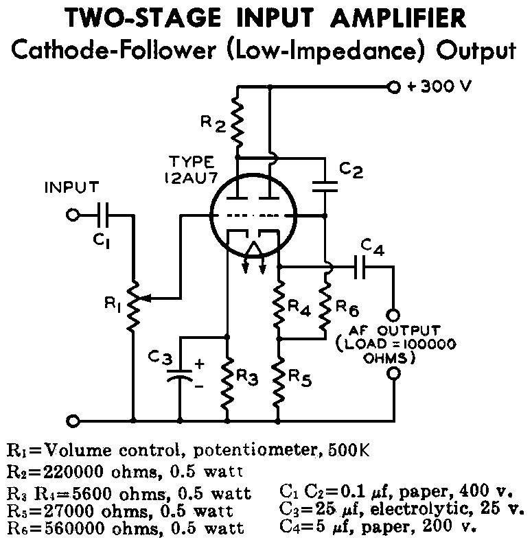 12au7 Ecc82 Cathode Follower Tube Preamplifier Schematic