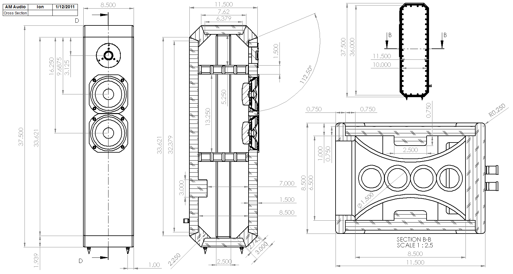 Ion-Enclosure-Drawing  Way Crossover Wiring Schematic on klh model 20 speakers, altec lansing, speakerlab horn, snell type elll, kef c95 3-way, klipsch alk, best mid-range, realistic model one, alon iv, altec lansing model 19, jbl l100,