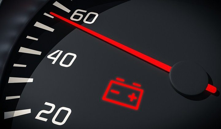 Discharged battery warning light in car dashboard