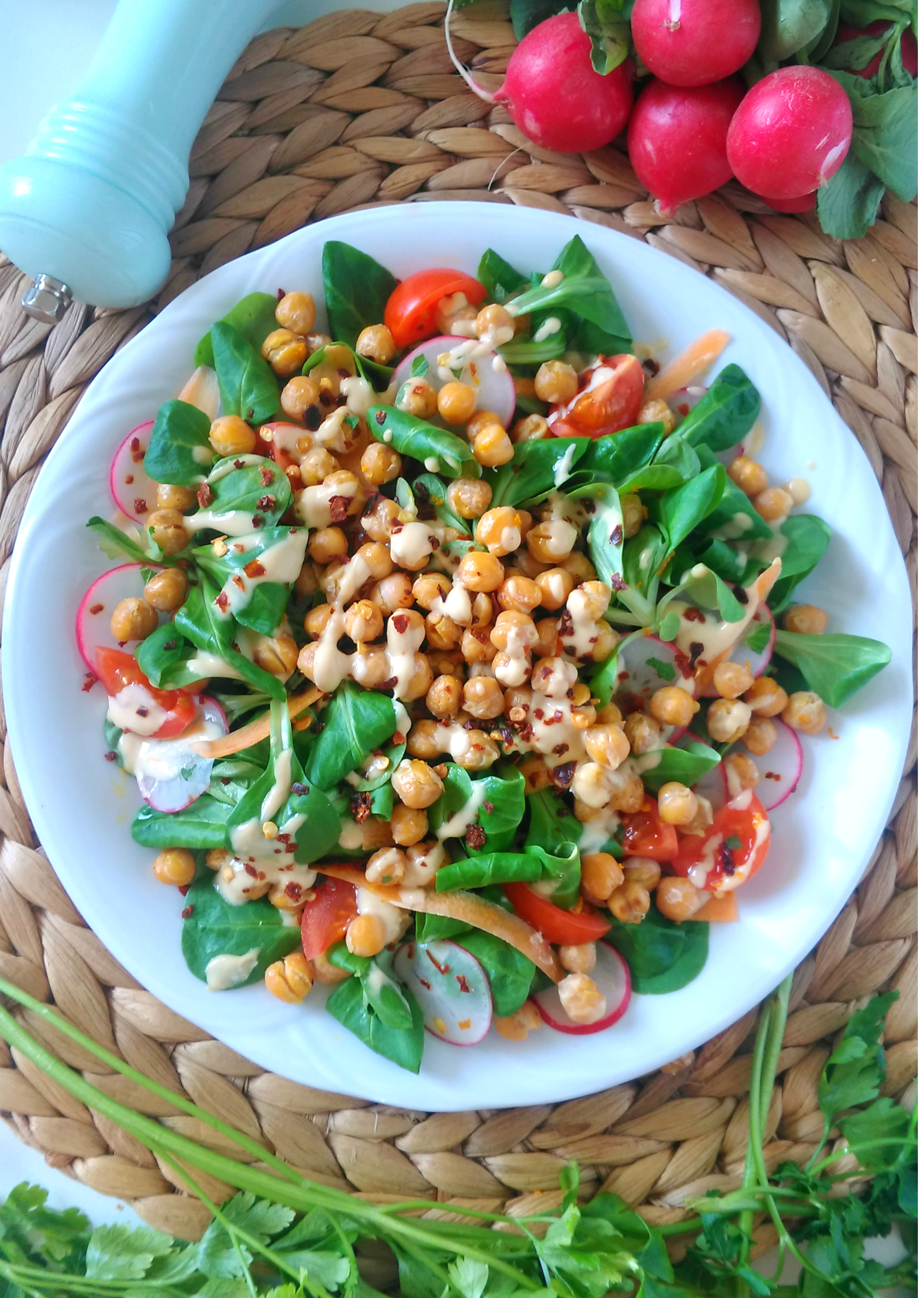 Baby_Spinach_and_Red Radish_Salad_with_Roasted Chickpeas_and_Tahini_Dressing_recipe_DIYBITES_2