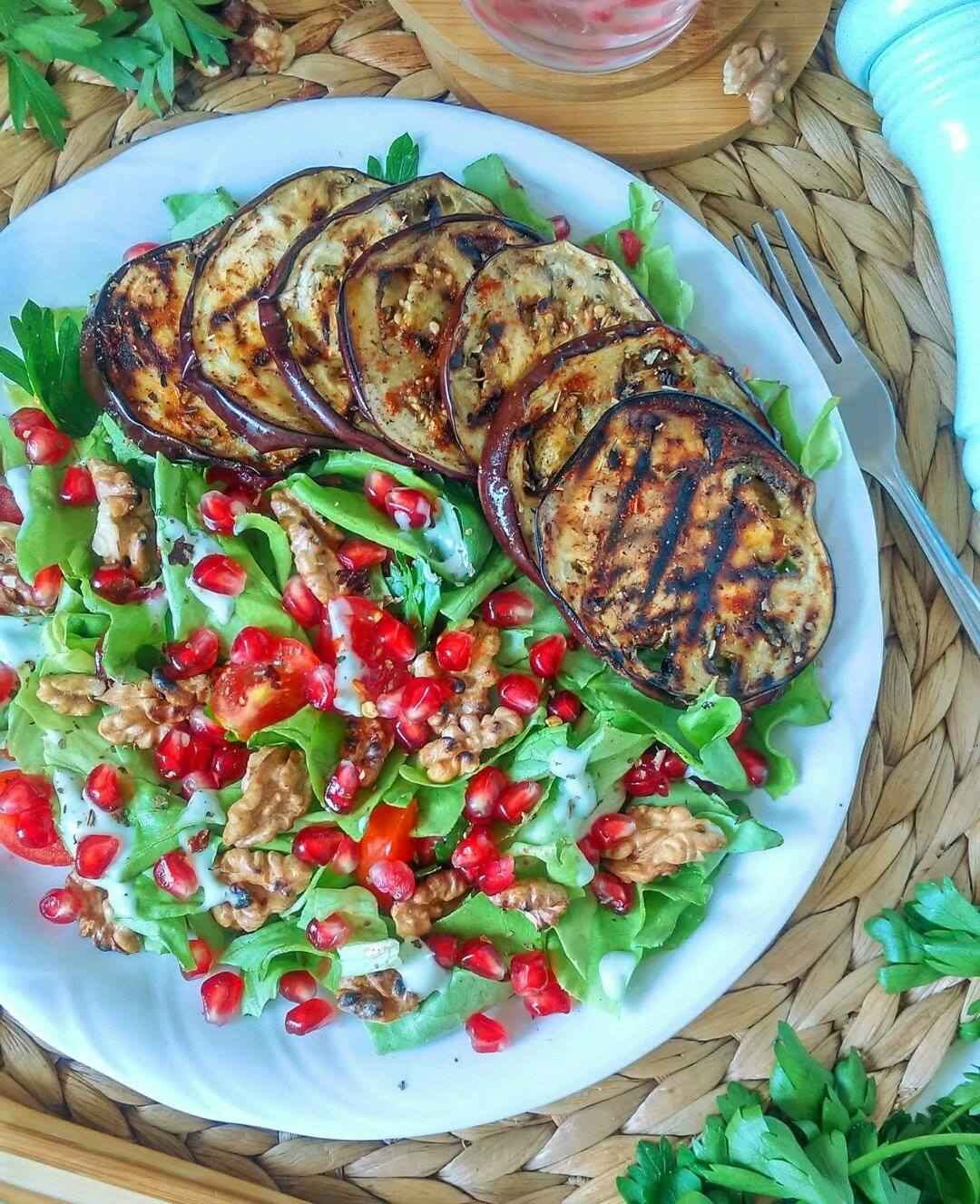 Grilled Eggplant Salad with Walnuts and Pomegranate