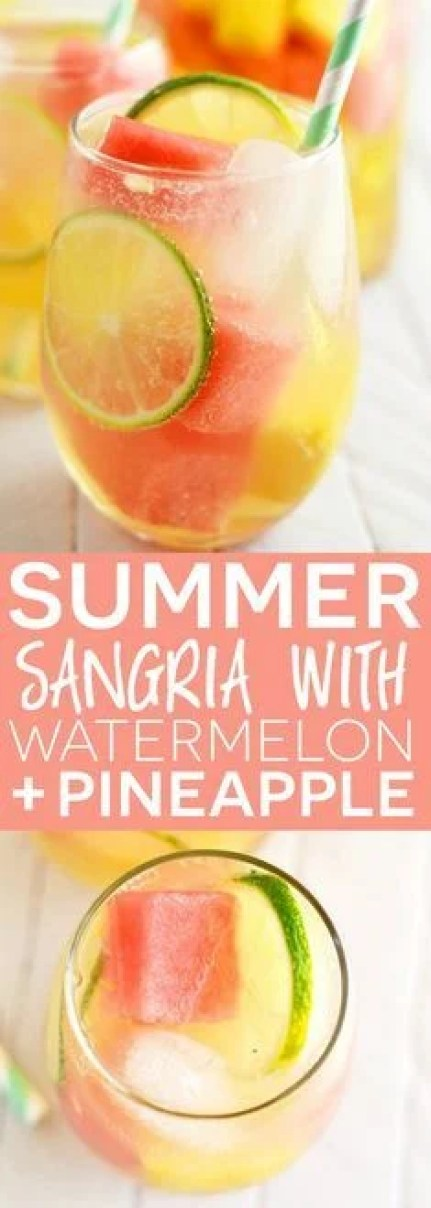 Summer sangria with watermelon and pineapple