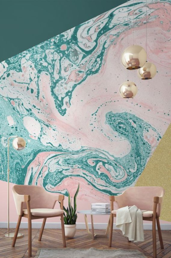 This marble and glitter geometric wall mural is THE BEST! It is so cute and adds so much movement and light to the room!