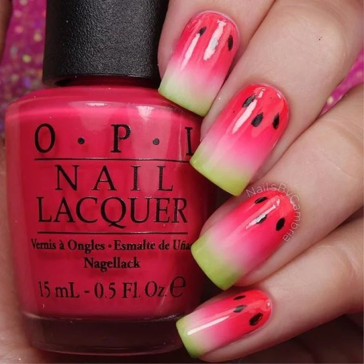 juicy watermelon nail art