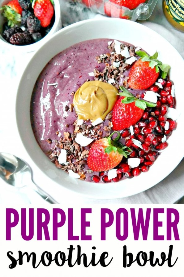"This ""Purple Power"" smoothie bowl looks so delicious! It will for sure help you get fit for the warm weather!"