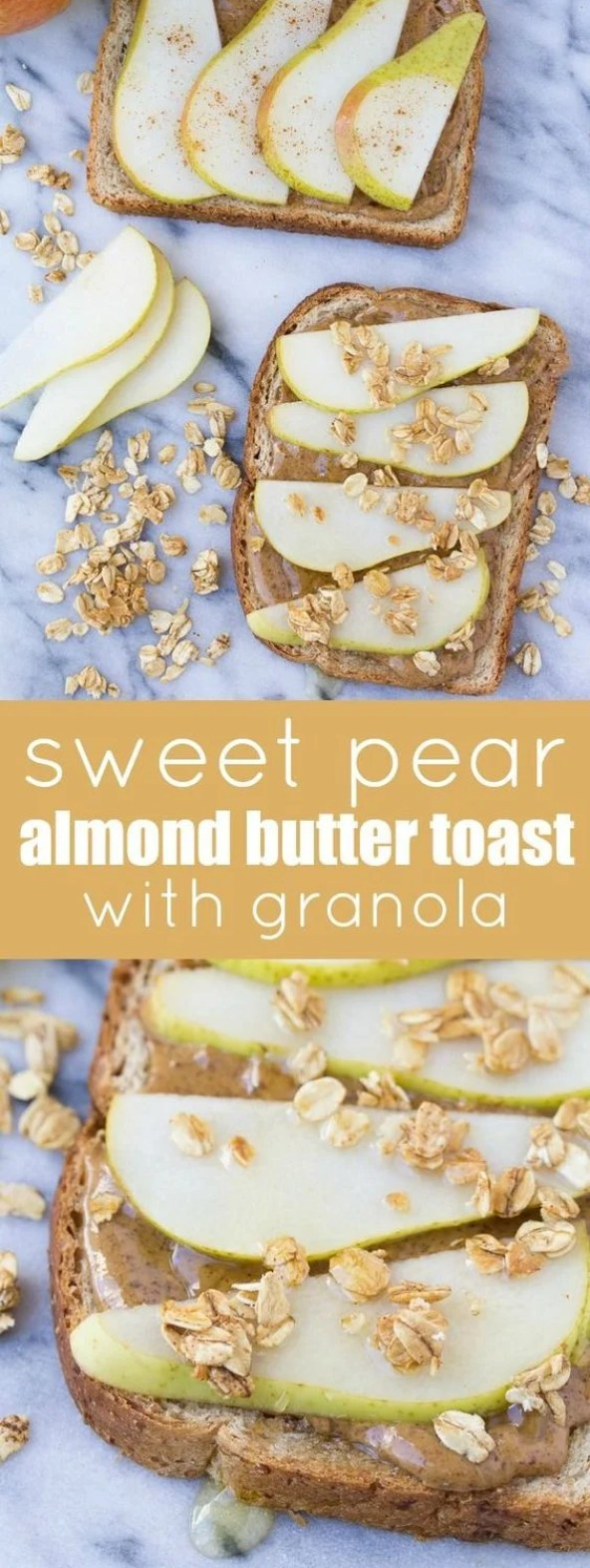 Pear and almond butter is definitely meant to be in this delicious morning breakfast. And is that granola?? It just keeps getting better!