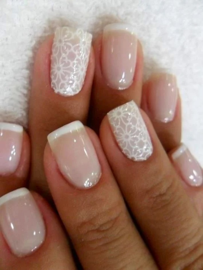 This white lace nail design is perfect if you want a clean look. It is especially great for weddings!