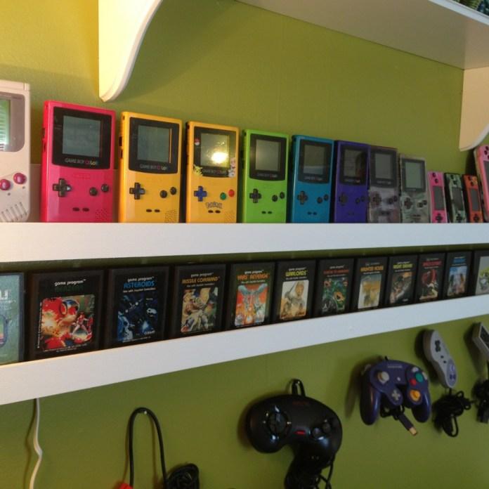 Floating Shelves Handheld Gaming Room Setup