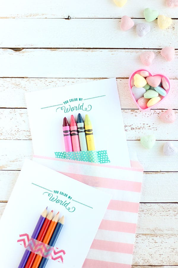 You Color My World Free Printable Valentines DIY Candy