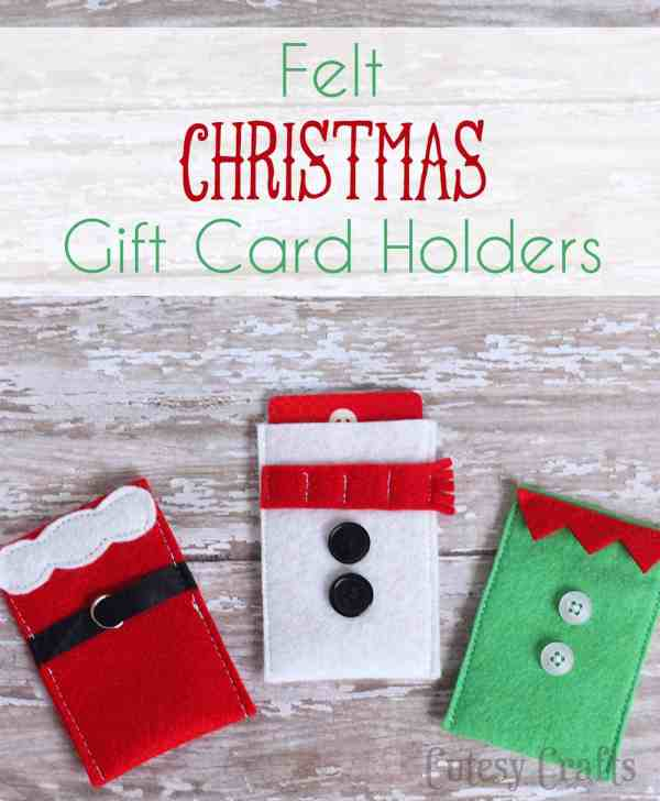 Felt Character Christmas Gift Card Holders - DIY Candy