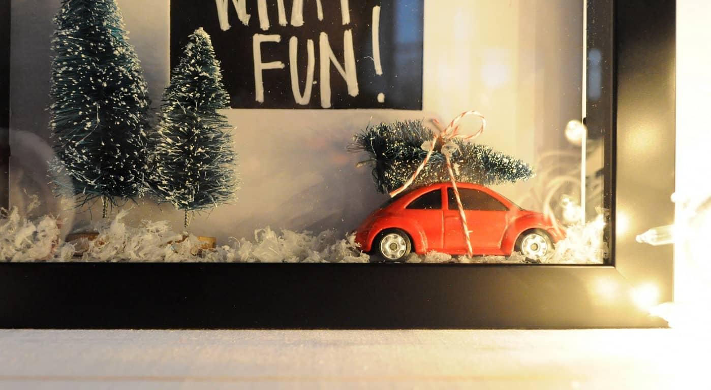 Trees On Cars DIY Christmas Shadow Box DIY Candy
