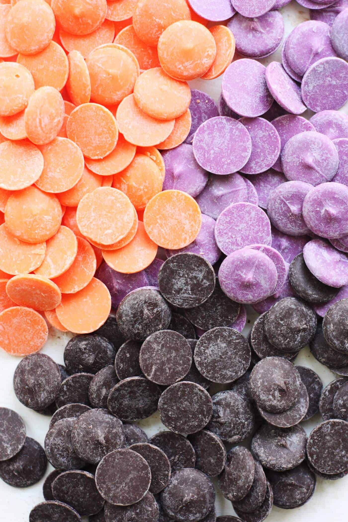 Wilton candy melts in orange, purple, and black for Halloween