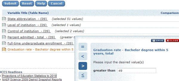 Graduation rate selection