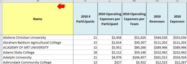 College softball expenditures