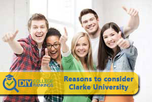student happy about Clarke University