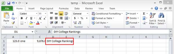 Excel enter text example