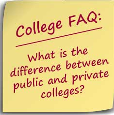 Post-it note asking What is the difference between public and private colleges?