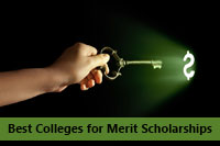 Hand with key to unlock best colleges for merit scholarships