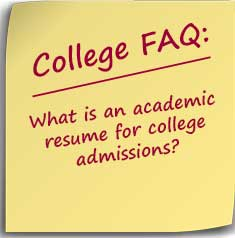 What is an academic resume for college admissions How to Budget
