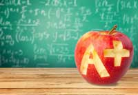 apple and chalkboard representing good grades won't get you a great scholarship