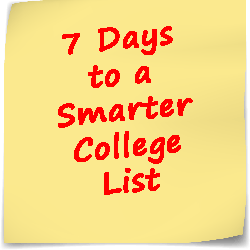 Post-it note with text 7 Days to a Smarter College List